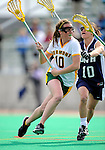 9 April 2008: University of Vermont Catamounts' Midfielder Megan MacDonald, a Freshman from Wayland, MA, in action against the University of New Hampshire Wildcats at Moulton Winder Field, in Burlington, Vermont. The Catamounts rallied to defeat the visiting Wildcats 9-8 in America East divisional play...Mandatory Photo Credit: Ed Wolfstein Photo