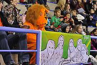 SCHAATSEN: CALGARY: Olympic Oval, 08-11-2013, Essent ISU World Cup, Oranje leeuw, schaatssupporter, ©foto Martin de Jong