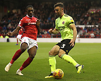 Nottingham Forest's Tendayi Darikwa and Sheffield United's Enda Stevens<br /> <br /> Photographer Rachel Holborn/CameraSport<br /> <br /> The EFL Sky Bet Championship - Nottingham Forest v Sheffield United - Saturday 3rd November 2018 - The City Ground - Nottingham<br /> <br /> World Copyright &copy; 2018 CameraSport. All rights reserved. 43 Linden Ave. Countesthorpe. Leicester. England. LE8 5PG - Tel: +44 (0) 116 277 4147 - admin@camerasport.com - www.camerasport.com
