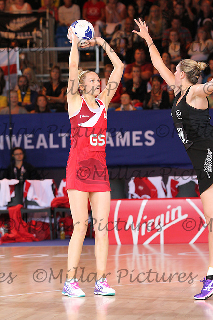 Joanne Harten of Team England being blocked by Casey Copua in the Team New Zealand against Team England in the Netball Semi Final for the 20th Commonwealth Games, Glasgow 2014 at the Scottish Exhibition and Conference Centre, Glasgow on 2.8.14.