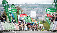 Picture by Allan McKenzie/SWpix.com - 15/05/2018 - Cycling - OVO Energy Tour Series Womens Race - Round 2:Motherwell - The peloton climbs the finishing straight, OVO Energy, Eisberg, branding.