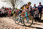 Pascal EENKHOORN from the Netherlands of Team LottoNL-Jumbo at the 3 star cobblestone sector 25 from Saint-Hilaire to Saint-Vaast during the 2018 Paris-Roubaix race, France, 8 April 2018, Photo by Pim Nijland / PelotonPhotos.com | All photos usage must carry mandatory copyright credit (Peloton Photos | Pim Nijland)
