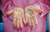 Muslim woman's hands adorned with Henna markings, Morocco..photo:  joliphotos.com