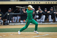 Carter Putz (4) of the Notre Dame Fighting Irish follows through on his swing against the Wake Forest Demon Deacons at David F. Couch Ballpark on March 10, 2019 in  Winston-Salem, North Carolina. The Demon Deacons defeated the Fighting Irish 7-4 in game one of a double-header.  (Brian Westerholt/Four Seam Images)