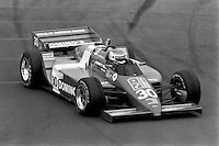 EAST RUTHERFORD, NJ - JUNE 30: Al Unser, Jr., drives his  Lola T900/Cosworth en route to victory in the Meadowlands U.S. Grand Prix CART IndyCar race at the Meadowlands Sports Complex in East Rutherford, New Jersey, on June 30, 1985.