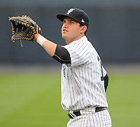 Infielder Brandon Laird (10) of the Scranton/Wilkes-Barre Yankees, International League affiliate of the New York Yankees, prior to a game against the Norfolk Tides on June 20, 2011, at PNC Park in Moosic, Pennsylvania. (Tom Priddy/Four Seam Images)