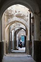 Tripoli, Libya - Medina Passageway, Woman Walking