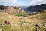 View of Ullswater lake and Glenridding village, Lake District, Cumbria, England, UK