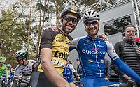 training buddies Maarten Wynants (BEL/LottoNL-Jumbo) & Tom Boonen (BEL/Quick-Step Floors) at the start of the Tom Boonen farewell race/criterium 'Tom Says Thanks!' in Mol/Belgium
