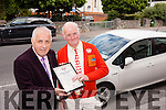DSA Examiner Tom Harrington from Tralee presents Patrick Fergusson with his advanced driver certificate.