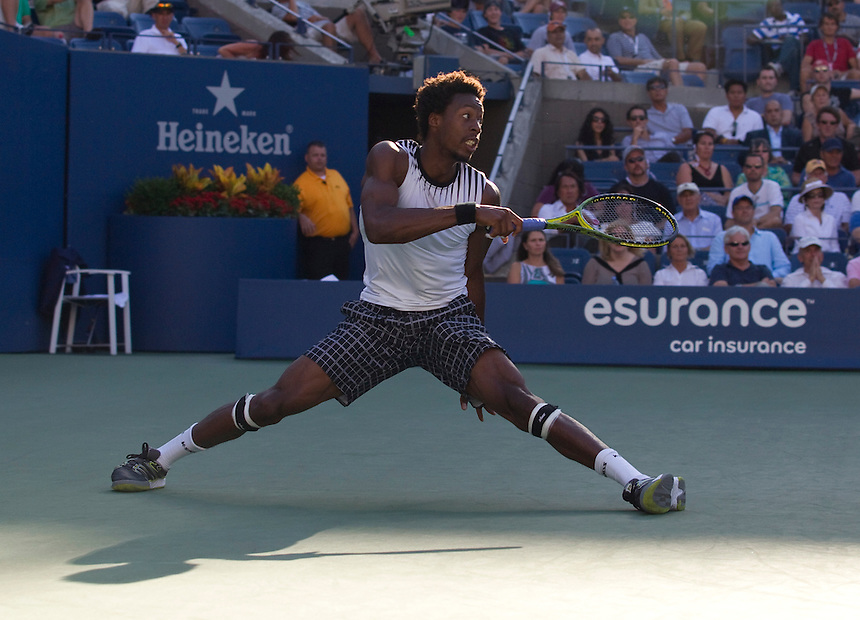 Gael Monfils FRA (17) in action today during his defeat by Novak Djokovic SRB (3) in their Men's singles Quarterfinals match in the Arthur Ashe Stadium. Novak Djokovic SRB (3) def Gael Monfils FRA (17) 7-6(2) 6-1 6-2..