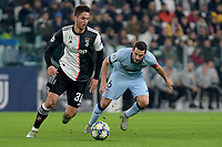 26th November 2019; Allianz Stadium, Turin, Italy; UEFA Champions League Football, Juventus versus Atletico Madrid; 1j301 avoids the challenge from Koke of Atletico Madrid - Editorial Use