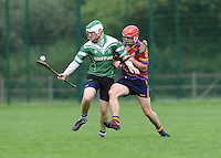 6th October 2013; Ciaran Byrne, Lucan Sarsfields in action against Alan Kenny, St Josephs OBC. Dublin Junior F Hurling Championship Group A, Lucan Sarsfields v St Josephs OBC, 12th Lock, Lucan, Co Dublin. Picture credit: Tommy Grealy / Actionshots.ie