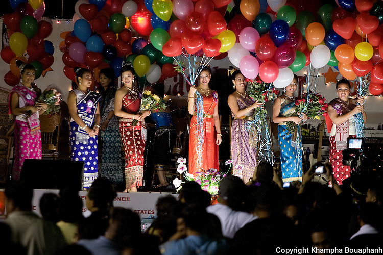 Girls compete in the Miss Songkran pageant during the Lao New Year celebration at Wat Lao Thepnimith in Fort Worth on April 24, 2010.  (photo by Khampha Bouaphanh)