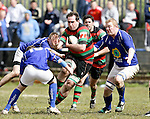 21.04.12<br /> Action from Fitzgerald Park Limerick, Thomond V Highfield. Highfield's Dave Kelly in action against Thomond's Gary O'Donnell, Craig Airey and Declan O'Donnell. Picture: Alan Place/Press 22.