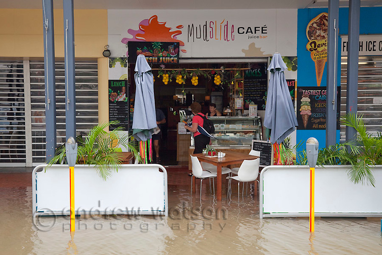 Shop on Aplin Street flooded due to torrential rain and king tides.  Cairns, Queensland, Australia