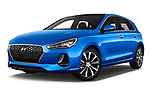 Stock pictures of low aggressive front three quarter view of 2017 Hyundai i30 Luxury-Launch-Edition 5 Door Hatchback Low Aggressive