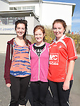 Laura Griffith, Emma kerr and Shauna Kinsella who took part in the Mell National School 500Km walk around the school. Photo:Colin Bell/pressphotos.ie