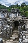 Ruins of the Palace in the Mayan city of Palenque,  Palenque National Park, Chiapas, Mexico.  A UNESCO World Heritage Site.