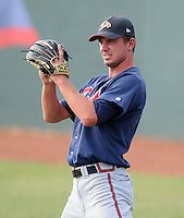 Pitcher Joe Lucas (11) of the Danville Braves, Appalachian League affiliate of the Atlanta Braves, prior to a game against the Johnson City Cardinals on August 19, 2011, at Howard Johnson Field in Johnson City, Tennessee. Danville defeated Johnson City, 5-4, in 16 innings. (Tom Priddy/Four Seam Images)