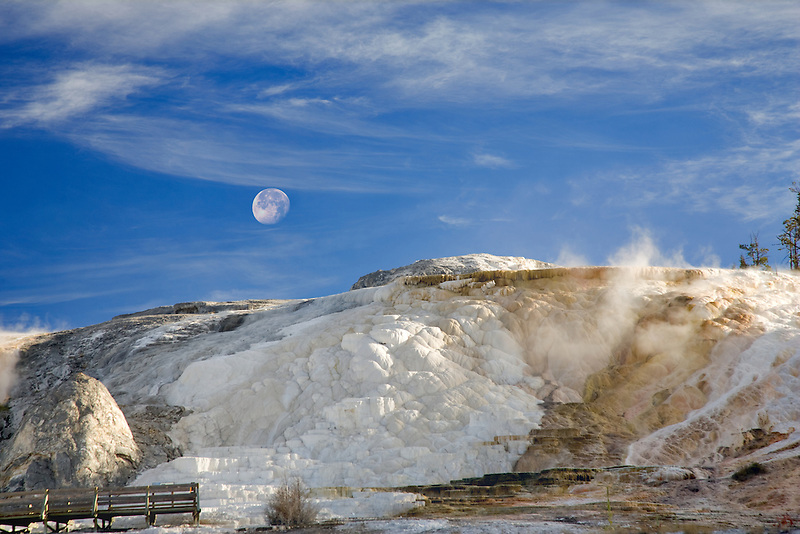 Calcium  hot spring formations at Mammoth Hot Springs. Yellowstone National Park, WY