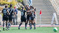 FC Gold Pride celebrate Christine Sinclair's goal. FC Gold Pride defeated the Philadelphia Independence 4-0 to win the 2010 WPS Championship at Pioneer Stadium in Hayward, California on September 26th, 2010.