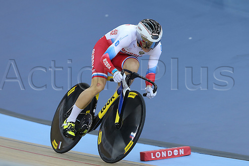 04.03.2016. Lee valley Velo Centre. London England. UCI Track Cycling World Championships Womens 500m time trial.   VOINOVA Anastasiia (RUS) on her way to winning gold