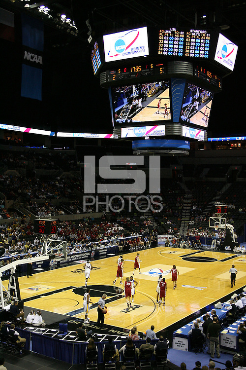 27 March 2006: The arena during Stanford's 62-59 loss to LSU during the NCAA Women's Basketball tournament Elite Eight round in San Antonio, TX.