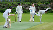 East of Scotland Cricket League, Div 3 - Clackmannan County CC v Livingston CC - Livingston bowler Faraz Asghar bowling past Clackmannan's Oliver brothers - Graham batting, Alan umpiring, to batsman Graeme Anderson - Picture by Donald MacLeod 17.07.10 - mobile 07702 319 738 - clanmacleod@btinternet.com