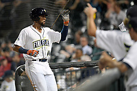 First baseman Dionis Paulino (11) of the Columbia Fireflies is greeted after scoring a run during a game against the Charleston RiverDogs on Tuesday, August 28, 2018, at Spirit Communications Park in Columbia, South Carolina. (Tom Priddy/Four Seam Images)