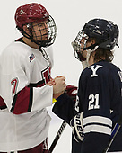 Eddie Ellis (Harvard - 7), John Hayden (Yale - 21) - The Harvard University Crimson tied the visiting Yale University Bulldogs 1-1 on Saturday, January 21, 2017, at the Bright-Landry Hockey Center in Boston, Massachusetts.