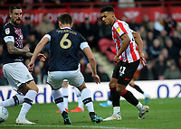 Ollie Watkins scores Brentford's second goal during Brentford vs Luton Town, Sky Bet EFL Championship Football at Griffin Park on 30th November 2019