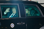 US President Donald Trump (L) and his wife Melania Trump (R) leave the teppanyaki restaurant Ukai-tei in Ginza on November 5, 2017, Tokyo, Japan. Trump and Japan's Prime Minister Shinzo Abe enjoyed dinner in Tokyo after playing golf in the afternoon. Japan is the first stop on his five-nation tour in Asia. (Photo by Rodrigo Reyes Marin/AFLO)