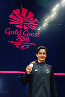 Paul Coll of New Zealand with silver in the Men's Singles Final. Gold Coast 2018 Commonwealth Games, Squash, Oxenford Studios, Gold Coast, Australia. 9 April 2018 © Copyright Photo: Anthony Au-Yeung / www.photosport.nz /SWpix.com