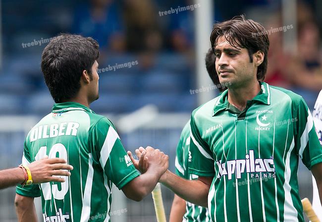 28/06/2015<br /> HWL Semi Final Antwerp Belgium 2015<br /> Pakistan v France Men<br /> Muhammad Dilber (L) and Sr. Muhammad Rizwan<br /> Photo: Grant Treeby
