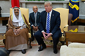 United States President Donald J. Trump meets with the Emir of Kuwait Jaber Al-Ahmad Al-Sabah in the Oval Office of the White House on September 5, 2018 in Washington, DC. Credit: Alex Edelman / Pool via CNP