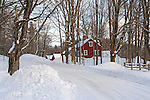 Snowy Farm Scene on a Country Road in the Monadnock Region of New Hampshire