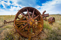 During the late 1930's, a series of floods plagued the Cimarron River and Morton County. It was during one of these floods, that the obsolete steam engines were used to protect the southern end of the K27 bridge. There are reports of local farmers being paid $5 to park the old steam engines in the sand along the river bank.<br /> The K27 bridge over the Cimarron was replaced several times through the years. Each replacement was at a different location than the previous one as the river channel changed. Prior to construction of a new bridge in 2003 this engine was uncovered. It was remarkable well preserved in the dry sand.