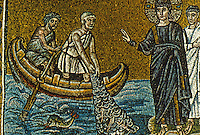 Ravenna: Mosaic--The Call of Peter and Andrew, 6th century. Basilica of Nuovo Sant'Apollinare.