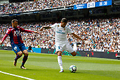 9th September 2017, Santiago Bernabeu, Madrid, Spain; La Liga football, Real Madrid versus Levante; Theo Hernandez (15) of Real Madrid and Pedro Lopez (19) of Levante