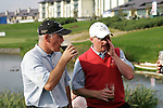 Winning team mates Graeme Storm and Simon Dyson try a Guinness on the 18th green after the final round singles of the Seve Trophy at The Heritage Golf Resort, Killenard,Co.Laois, Ireland 30th September 2007 (Photo by Eoin Clarke/GOLFFILE)