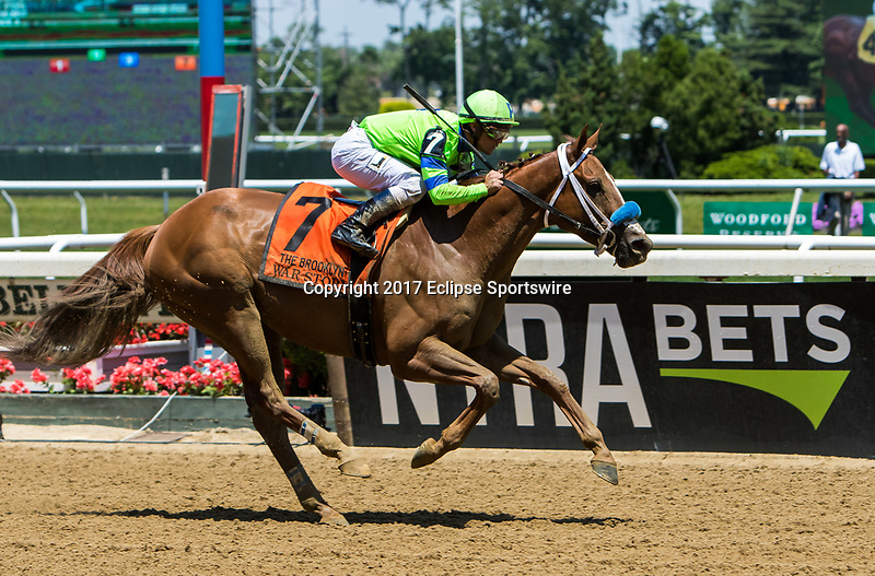 ELMONT, NY - JUNE 10: War Story #7, ridden by Javier Castellano, wins the Brooklyn Invitational Stakes on Belmont Stakes Day at Belmont Park on June 10, 2017 in Elmont, New York. (Photo by Sue Kawczynski/Eclipse Sportswire/Getty Images)