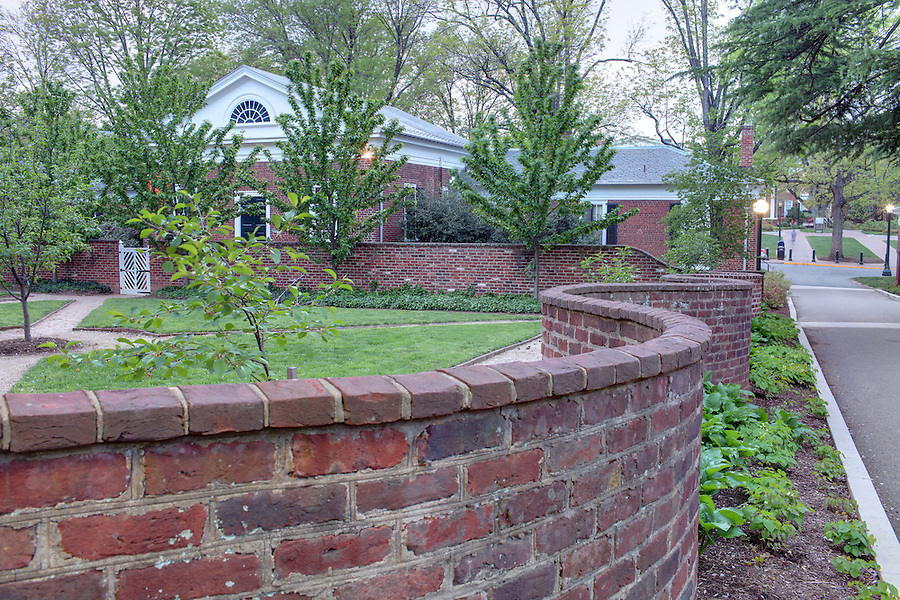 The University of Virginia serpentine walls surrounding pavilion garden V in spring on central grounds.