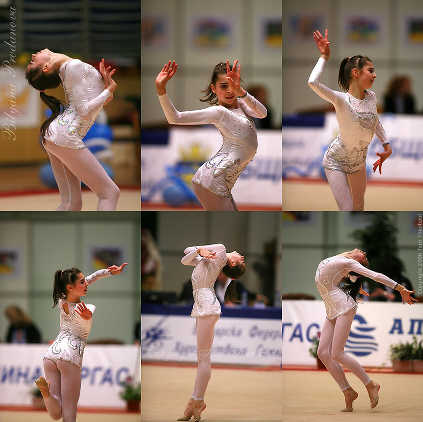 Series of images of Bilyana Prodanova of Bulgaria performing handsfree gala exhibition at Burgas Grand Prix Rhythmic Gymnastics on May 7, 2006.   (Photo by Tom Theobald)<br />