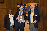 OAKLAND, CA - November 4, 2016: 2016  (Left to right) Cal Athletic Director Mike Williams, inductee Jerrott Willard, and Big C Society President Kent Brewer at the Big C Society 31st Annual Hall of Fame Banquet at the Greek Orthodox Cathedral.
