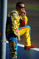 Apr 10, 2008; Avondale, AZ, USA; NASCAR Sprint Cup Series driver Bobby Labonte during qualifying for the Subway Fresh Fit 500 at Phoenix International Raceway. Mandatory Credit: Mark J. Rebilas-