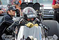 Mar. 12, 2012; Gainesville, FL, USA; NHRA top fuel dragster driver Shawn Langdon during the Gatornationals at Auto Plus Raceway at Gainesville. The race is being completed on Monday after rain on Sunday. Mandatory Credit: Mark J. Rebilas-