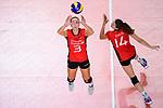 25.08.2018, …VB Arena, Bremen<br />Volleyball, LŠnderspiel / Laenderspiel, Deutschland vs. Niederlande<br /><br />Zuspiel Denise Hanke (#3 GER), Melanie Schšlzel / Schoelzel (#14 GER)<br /><br />  Foto &copy; nordphoto / Kurth