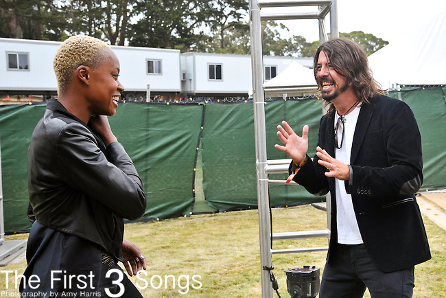 Noelle Scaggs of Fitz and the Tantrums with Foo Fighter's Dave Grohl backstage at Outside Lands Festival at Golden Gate Park in San Francisco, California.