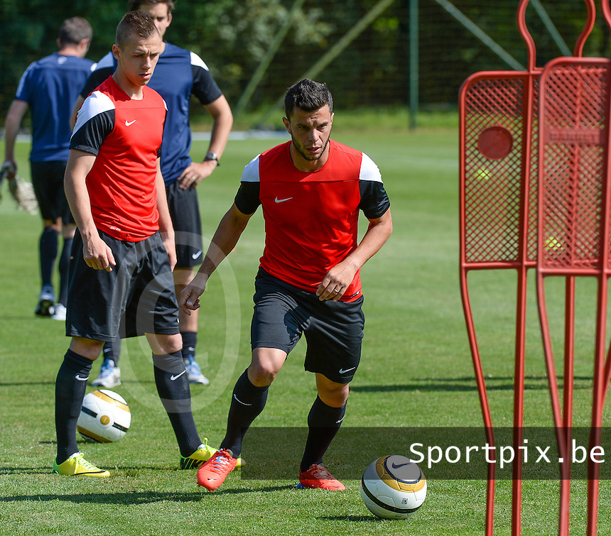 20140623 - CAMPHIN EN PEVELE, FRANCE: Mouscron's Sebastien Pennacchio pictured during a training session of Belgian first division soccer team Mouscron-Peruwelz, the first training of the preparations for the 2014-2015 season, Monday 23 June 2014 in Camphin en Pevele, North France. BELGA PHOTO DAVID CATRY